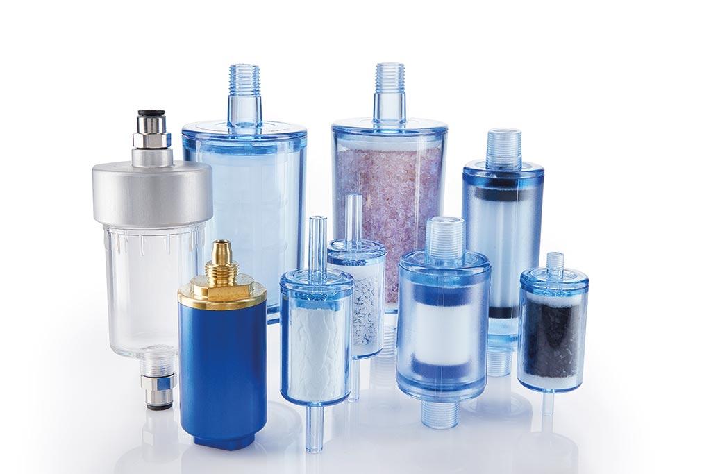 Diverse Inline-Filter und Inline-Adsorber aus Kunststoffen und Metallen